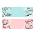 seafood fish corals and seashells banner vector image