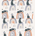seamless pattern with cute cats on rainbow vector image