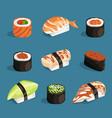 set classical asian food white rice sushi