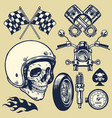 set hand made vintage motorcycle element vector image