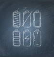 set of battery icon chalkboard sketches vector image vector image