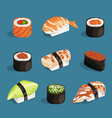 set of classical asian food white rice sushi vector image vector image