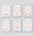 set of thin line cinema vacation pattern concept vector image