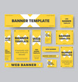 set yellow web banner templates with white vector image vector image