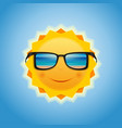 smiling sun with sunglasses vector image vector image