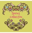 Spring border hand drawn doodles vector image