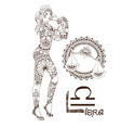 stylized zodiac sign libra vector image vector image