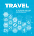 travel and tourism blue background with icons vector image vector image