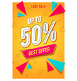 trendy flat geometric banner with sales best offer vector image