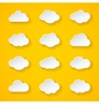 Twelve white paper clouds with different shapes vector image vector image