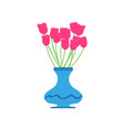 vase tulip red flower beautiful vector image