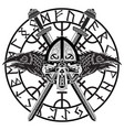 viking helmet crossed viking sword in a circle of vector image vector image
