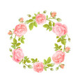 watercolor wreath flowers on white vector image