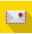 White postage envelope with stamp icon flat style vector image