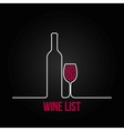 wine bottle glass list design menu background vector image vector image