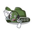 with headphone tank mascot cartoon style vector image