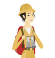 young asian traveler with backpack and binoculars vector image vector image