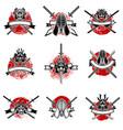 set of emblems with japanese swords samurai masks vector image
