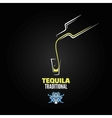 tequila shot bottle glass menu design background vector image