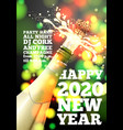 2020 new year banner with champagne bottle vector image