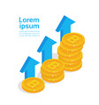 bitcoins growth concept golden coins stack modern vector image vector image