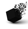 Black cube explosion Abstract background vector image