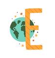 capital letter e childish english alphabet vector image