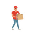 cartoon delivery man carrying cardboard box vector image vector image
