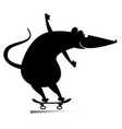 cartoon rat or mouse a skateboarder isolated vector image vector image