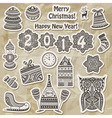 Christmas stickers design elements vector image vector image