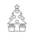 christmas tree gift boxes ball star decoration vector image vector image