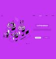 coffee break - line design style isometric web vector image