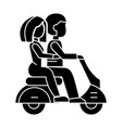 couple in love riding a scooter icon vector image