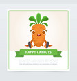 cute humanized carrot vegetable character happy vector image