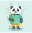 cute panda with bamboo vector image vector image