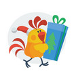 cute rooster with gift cartoon flat icon vector image