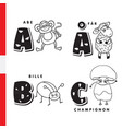 danish alphabet monkey sheep beetle mushroom vector image vector image