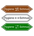 Direction sign hygiene and dirt vector image vector image