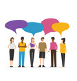 flat style people discuss social network news vector image vector image