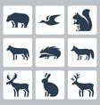 forest animals icons set vector image vector image