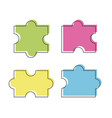 four puzzle colored pieces vector image