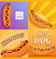 fresh hot dog banner set cartoon style vector image