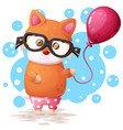 glasses fox with pink balloon vector image