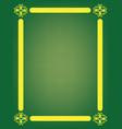 green background with yellow frame vector image vector image