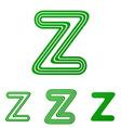 Green z letter logo design set vector image vector image