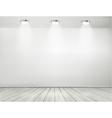 Grey room spotlights and wooden floor Showroom vector image vector image