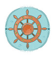 grunge nautical emblem hand drawn sea wheel vector image