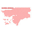 guinea-bissau map - mosaic of valentine hearts vector image vector image