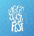 hand lettering oktoberfest label in beer mug shape vector image