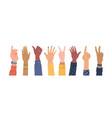 hands gesture multi ethnic diversity skins palms vector image
